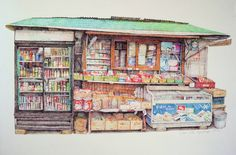 펜화 일러스트 Colored Pencil Drawing