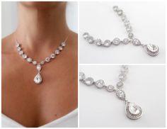 teardrop diamond bridal statement necklace - bridal accessories