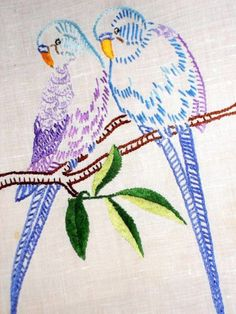 Vintage Linen Budgies Tray Cloth Hand Embroidered Table Topper Lace Budgerigar