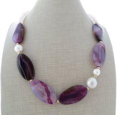 Collana agata, collana, collana, girocollo viola, collana di pietra, gemma gioielli, gioielli, regali per lei, gioielli