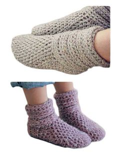Crochet these boots for yourself or a friend!   These warm and comfortable boots are great to wear to bed on a cold night or for around the house on a chilly morning. Made using bulky weight or 2 strands of DK-weight yarn held together  Finished sizes:  Toddler: 4-8  Youth: 10-4  Ladies: 5-11