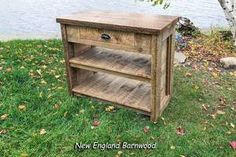 "This stunningly Rustic Modern Farmhouse Kitchen Island features a wide functional drawer with 2 spacious lower storage shelves with authentic ship lap side panels.  Dimensions 40""W x 21""D x 35"" H  Handmade, solid and sturdy this vintage style barnwood kitchen island is made from reclaimed and repurposed rough cut pine with plenty of farmhouse character. #newenglandbarnwood #rusticmodern"