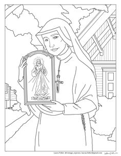 A free St. Faustina Divine Mercy coloring page