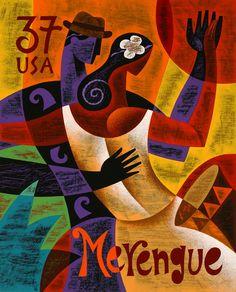 Merengue stamp art
