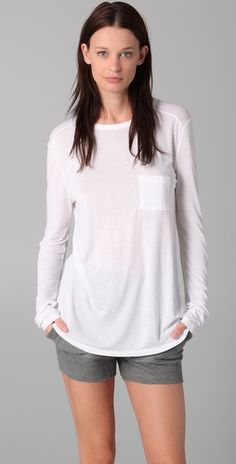 T by Alexander Wang    Classic Long Sleeve Tee with Pocket  Style #:TWANG40070