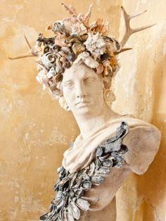 Whimsy Give Your Bust a Seaside Makeover: gallery image 2 Seashell Art, Seashell Crafts, Seashell Bathroom, Mermaid Bathroom, Mannequin Art, Sculpture, Mosaic Art, Altered Art, Diy Art
