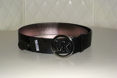 'Michael Kors Black Leather MK Circle Logo Belt Small ' is going up for auction on Tophatter.
