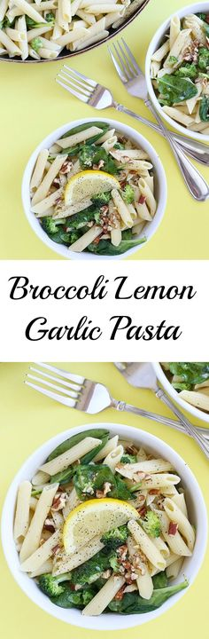 Broccoli Lemon Garlic Pasta is FULL of healthy, fresh flavor! It is quick and easy to make plus it's vegan with a gluten free option! / TwoRaspberries.com