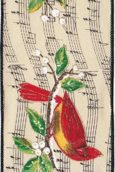 Linen Music Note Cardinals, Red/Ivory