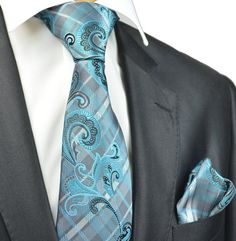 Turquoise and Grey Tie and Pocket Square Set – Paul Malone Grey Tie, Tie Set, Tie And Pocket Square, Turquoise, Suits, Pattern, Fashion, Moda, Outfits