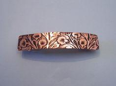 Etched Copper Carnation Barrette  Large by RestringIt on Etsy, $50.00