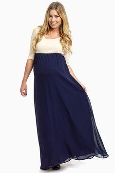 Navy lace maternity maxi dress