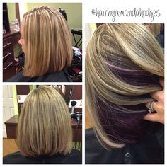 Pop of purple. #peekaboo #lob #longbob