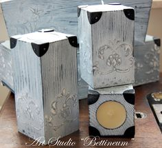 Set of 3  Wooden Candle Holders Shabby Chic by Bettineum on Etsy, $29.00