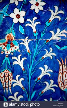 Buy or license direct from the photographer this stunning image of : Iznik Tiles Rustem Pasha Mosque Istanbul Turkey Turkish Design, Turkish Art, Turkish Tiles, Glass Painting Designs, Paint Designs, Blue Pottery, Pottery Art, Flower Motif, Antique Tiles