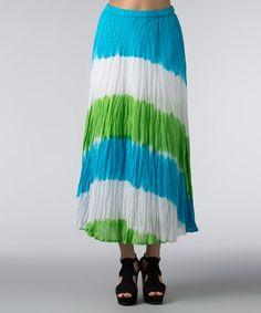 Look what I found on #zulily! Blue & Green Maxi Skirt - Women #zulilyfinds