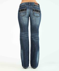 Look at this #zulilyfind! Adiktd Dark Stone Wash Embroidered Bootcut Jeans by Adiktd #zulilyfinds