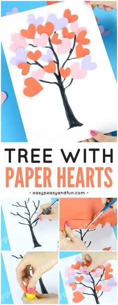 Tree with Paper Hearts Art for Valentine's Day Crafts for Kids Tissue Paper Crafts, Easy Paper Crafts, Fun Crafts, Craft With Paper, Valentine's Day Crafts For Kids, Toddler Crafts, Preschool Crafts, Kids Diy, Valentine Crafts For Kids