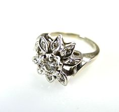 Diamond Cluster Floral Ring