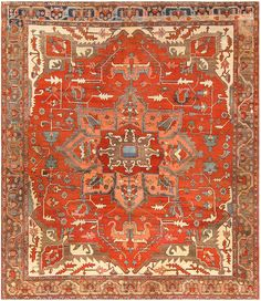 Antique Persian Heriz Serapi Rug 48055 Main Image - By Nazmiyal