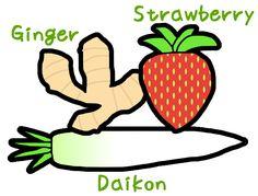 Ginger, Strawberry, Daikon / #Food #Vegetable #Fruit