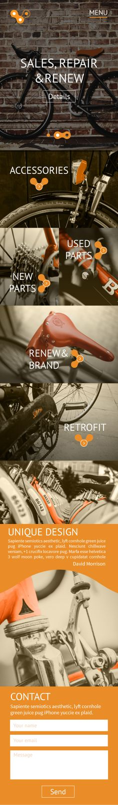Industrial UI design - Bike Shop (mobile view)