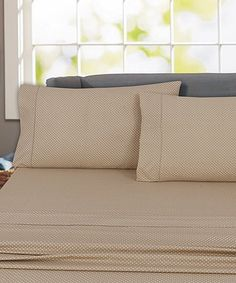 Loving this Taupe Polka Dot Cotton Sheet Set on #zulily! #zulilyfinds