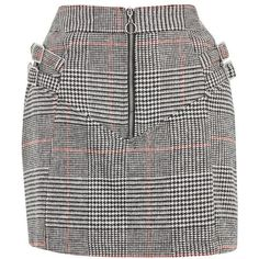Women's Topshop Side Buckle Check Miniskirt ($68) ❤ liked on Polyvore featuring skirts, mini skirts, checkered skirt, wool skirt, utility skirt and checkered mini skirt