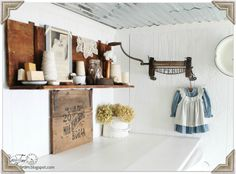 Love everything about this antique laundry room shelf
