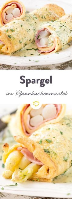 Eingerollt in fluffige Pfannkuchen ist zarter Spargel gleich nochmal so lecker. … Rolled in fluffy pancakes, tender asparagus is just as delicious again. A homemade hollandaise, baked and enjoyed. Snack Recipes, Cooking Recipes, Healthy Recipes, Baked Asparagus, Crepes, Soul Food, Food Inspiration, Food Porn, Food And Drink