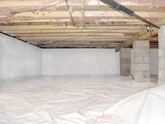 VaporBright is used to encapsulate crawlspaces and basements. Our crawlspace vapor barrier is a white-on-white liner reinforced with a nylon weave. Basement Waterproofing Paint, Wet Basement, Basement Flooring, Basement Ideas, Basement Repair, Basement Insulation, Basement Bathroom, Basement Renovations, Home Renovation