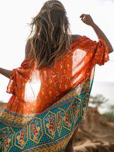 547556598262 Kimono Cover Up Boho Chiffon Orange Red Half Sleeve Beach Wear For Women