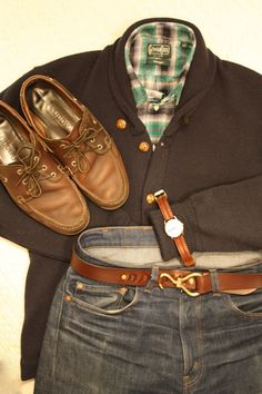 +Gitman Vintage flannel shirt +Archival Clothing/Centralia Knitting Mills shawl collar +Levi's 505 (USA) +Narragansett Leathers Hoof Pick +Timex on old EB leather strap      Quoddy boat shoes