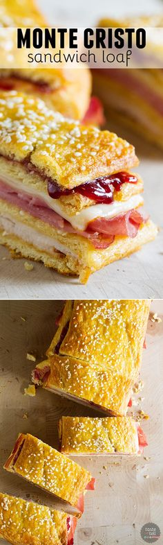 A favorite sandwich - the Monte Cristo - takes a different form in this sandwich loaf that has layers of crescent dough, turkey, ham, cheese, and raspberry jam. This Monte Cristo Sandwich Loaf is perfect for pot lucks or picnics.: