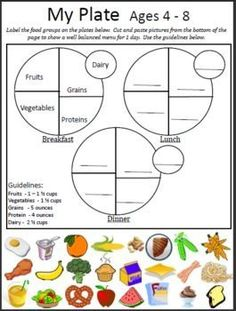 My Plate Cut & Paste ages 4-8 - Cut and paste My Plate activity can be used with a nutrition unit, sorting into categories, and identifying foods.