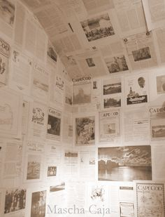 Old newspaper as wallpaper - no way!  Get those articles on a wall plaque - not as wall paper!  www.inthenewsonline.com