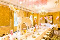 Dining Table + Partyscape from a Carousel Baby Shower via Kara's Party Ideas | KarasPartyIdeas.com The Place for All Things Party! (2)