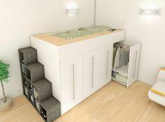 Lit mezzanine sur mesure  Archea l'escalier intègre des espaces de rangements.