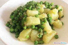 Cómo hacer Guisantes con patatas. Receta básica para cocinar fácil unos guisantes con un refrito de cebolla y patata.