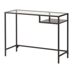 VITTSJÖ Laptop table, black-brown, glass black-brown/glass 39 3/8x14 1/8  Painted for A's room