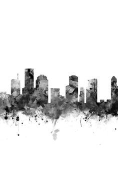 Houston Skyline,Black and White  #houston #skyline #samsung #galaxy #cases #skins #print #art #phone #tech #landscape #blackandwhite