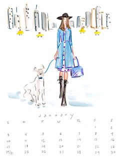 2016 Fashion Illustration Calendar featuring stylish gals and their stylish dogs by Illustrator Beth Briggs..