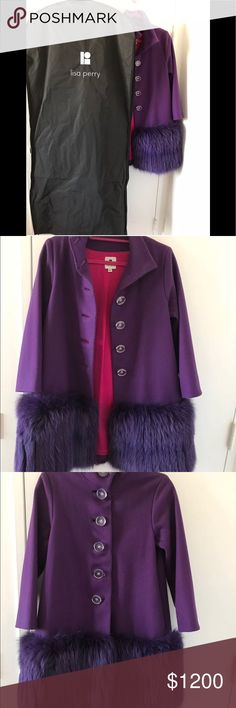 Lisa Perry High Fashion Fox Fur-trimmed Wool Coat Wore a few times, very good condition as shown in photos. Original garment bag will be shipped with the coat. Bought this royal purple color rare beauty at Liza Perry's boutique on Madison Avenue Upper East Side Manhattan, paid about $4000 for it. Dual slit pockets at hips, fox fur trim at hem and buttons closure at center front. Material tag as shown in photo. Lisa Perry Jackets & Coats