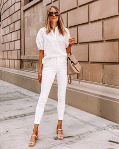 Office Outfits Women Casual, White Outfits For Women, White Summer Outfits, Casual Tops For Women, Summer Fashion Outfits, Summer Outfits Women, Simple Outfits, Clothes For Women, Outfit Summer