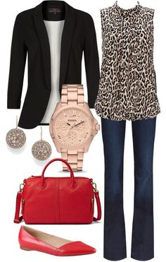 Love this look! Red bag and jeans, blazer and rose gold accessories! Would change the flats