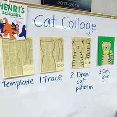 I simplified my template for TKs today. It makes it easier to add a collar that doesn't cover the face. Students can focus on making triangles and lines on the the kitty tail. I'll post my new PDF template later today. UPDATE: My profile has link to new template. Try printing on off white paper for a real newspaper look. #teachersofinstagram #teachersfollowteachers #matisseart