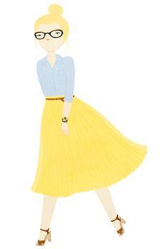 glasses: Chanel / shirt: J.Crew / skirt: Whistles/ watch: Sekonda / bracelet:Hermès / shoes:Swedish Hasbeens