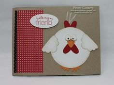 Cute Chicken Card use chicken wire EF for background! Homemade Greeting Cards, Greeting Cards Handmade, Homemade Cards, Paper Punch Art, Punch Art Cards, Scrapbook Cards, Scrapbooking, Kids Cards, Baby Cards