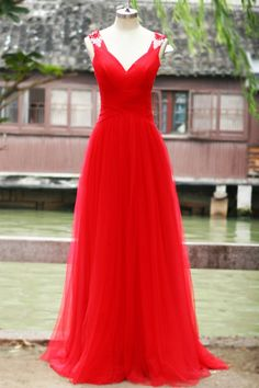 Pretty Red Tulle Long Sweetheart Open Back Prom Gowns 2015, Red Formal Gowns