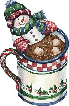 CHRISTMAS SNOWMAN HOT COCOA CLIP ART